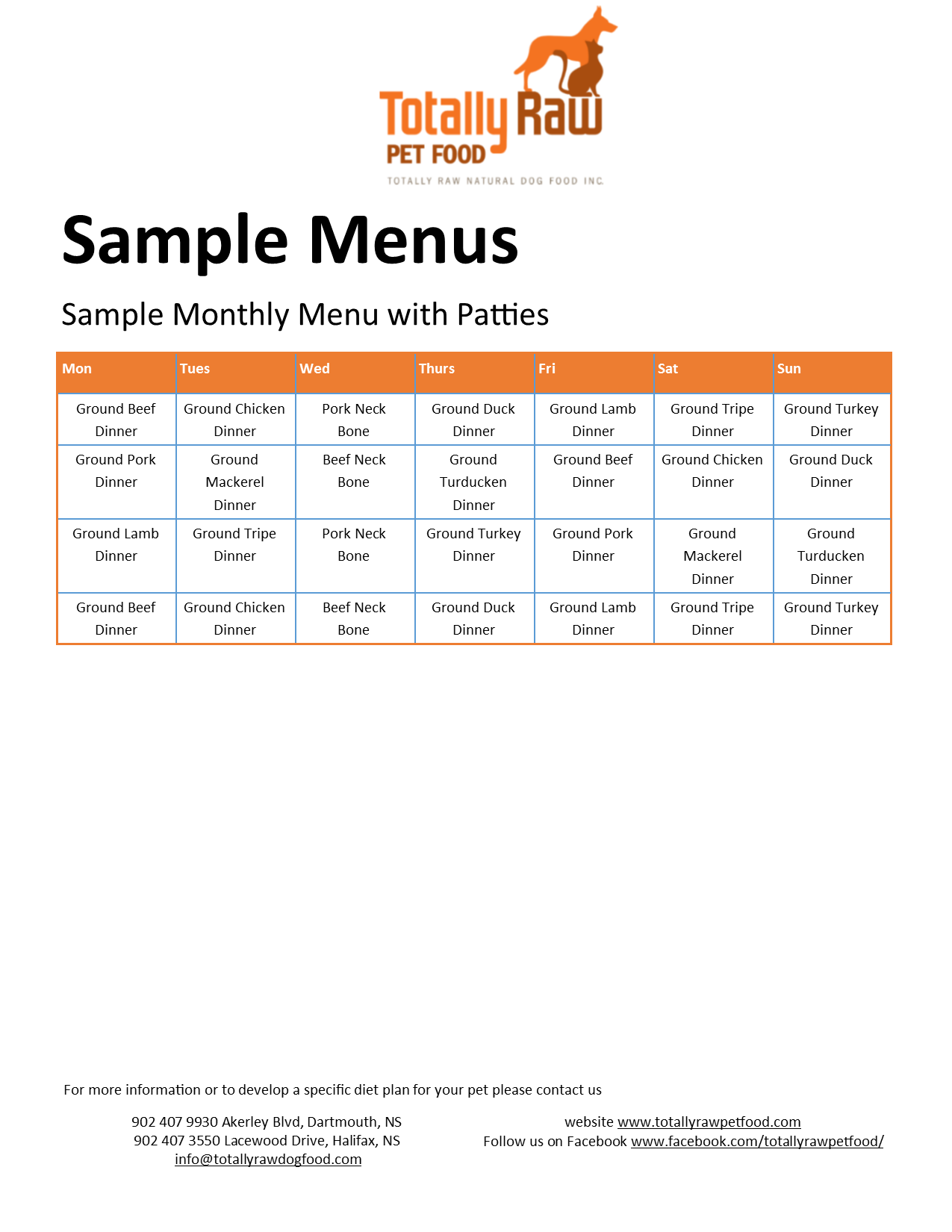 sample menu totally raw