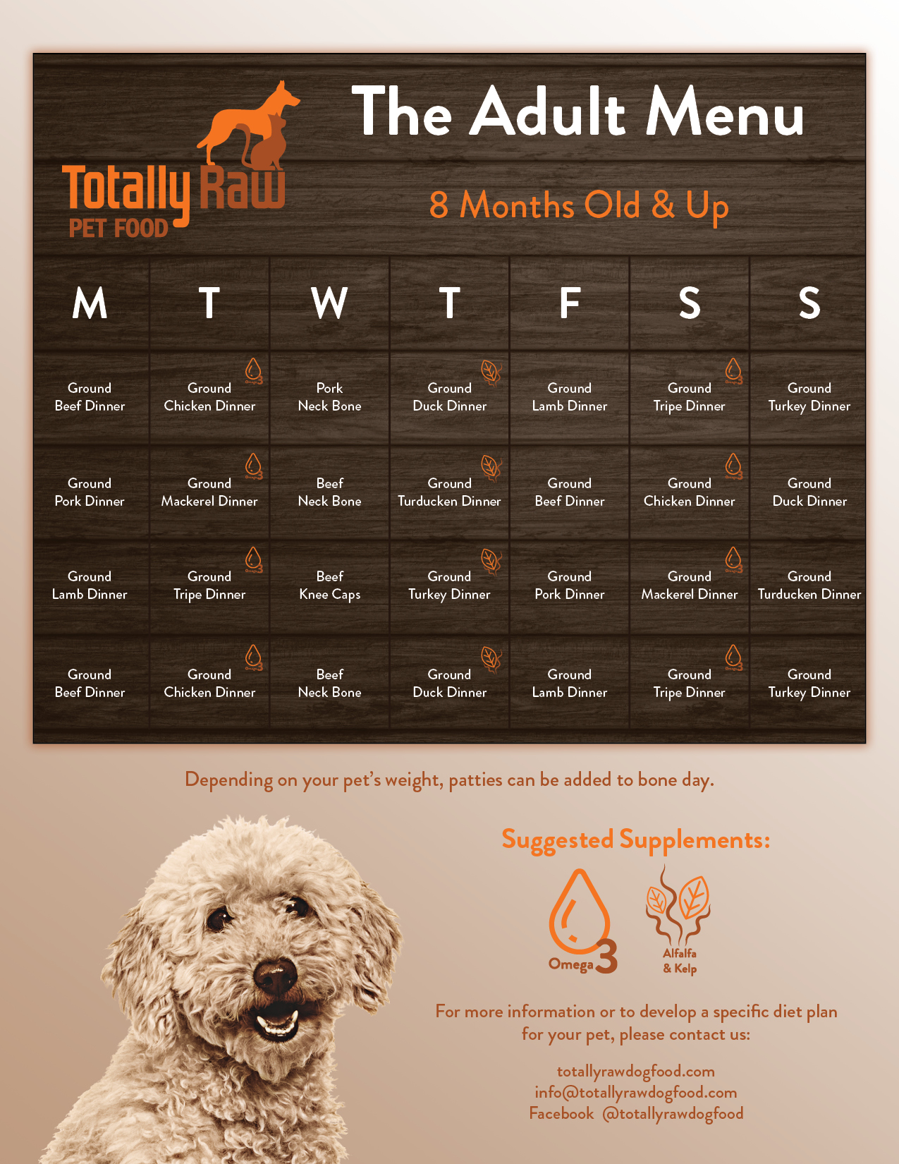 Sample Menu for Adult Dogs